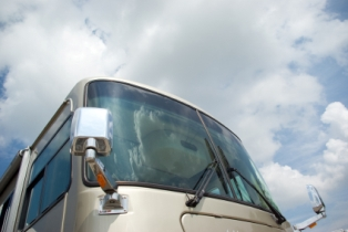 rv-motorhome-insurance-01; up close view of RV motorhome windshield