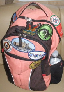 rv-road-trips-10; patch collection on a backpack