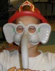 funny-kids-pictures-02; funny kid picture boy wearing elephant mask
