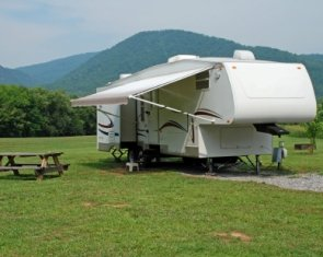 rv-life-styles-08;5th wheeler parked at rv campground