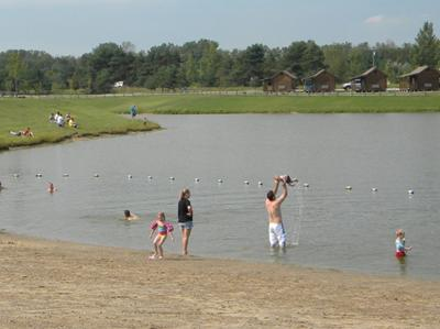 beach area of private lake with cabins in background