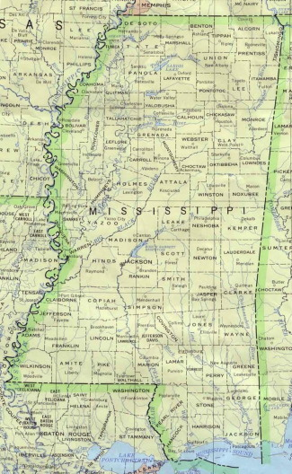 mississippi-treasure-hunting; mississippi map