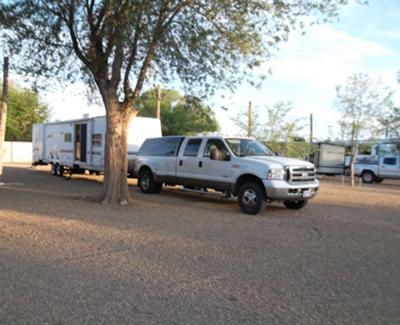 Our truck parked on the very nice pea gravel