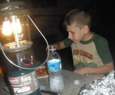 William eating dinner at our site