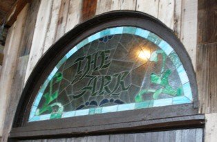 Stained glass window above the door